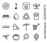 eco icons set. set of 16 eco... | Shutterstock .eps vector #653954971