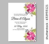hibiscus wedding invitation... | Shutterstock .eps vector #653955121