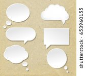 speech bubble with old paper... | Shutterstock .eps vector #653960155