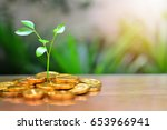 gold coins growth up to profit... | Shutterstock . vector #653966941