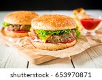 hamburger with beef  sauce and... | Shutterstock . vector #653970871