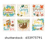 set of summer holidays and... | Shutterstock .eps vector #653975791