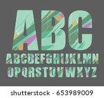 decorative alphabet vector font. | Shutterstock .eps vector #653989009