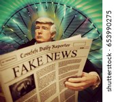 Small photo of Caricature of United States President Donald Trump reading a Fake News newspaper - action figure toy