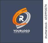 r letter logo runway circle... | Shutterstock .eps vector #653993074