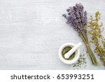 bunch of lavender  healing... | Shutterstock . vector #653993251