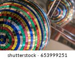 mirror ball made from pieces of ... | Shutterstock . vector #653999251