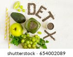 word detox is made from chia...   Shutterstock . vector #654002089