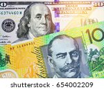 aud and us dollar bank notes... | Shutterstock . vector #654002209
