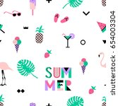 summer seamless pattern with... | Shutterstock .eps vector #654003304