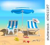 summer. recliners and beach... | Shutterstock . vector #654011197