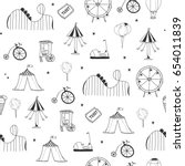 hand drawn amusement park... | Shutterstock .eps vector #654011839