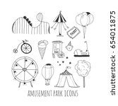 hand drawn amusement park... | Shutterstock .eps vector #654011875