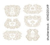 wedding ornamental frames... | Shutterstock .eps vector #654020149