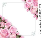 Stock photo background with pink roses flowers and green leaves 654021574