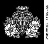 ornate mystic key hole inside... | Shutterstock .eps vector #654022231