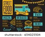 street food festival menu.... | Shutterstock .eps vector #654025504