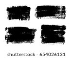 set of black paint  ink brush... | Shutterstock .eps vector #654026131
