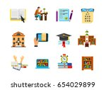 education and exam icon set | Shutterstock .eps vector #654029899