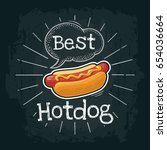 hotdog with mustard. vector... | Shutterstock .eps vector #654036664