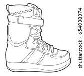ski boot. vector monochrome... | Shutterstock .eps vector #654038374