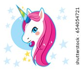 cute magic unicorn head with... | Shutterstock .eps vector #654054721