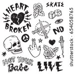a set of grunge doodles and... | Shutterstock .eps vector #654058765