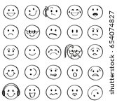 set of outline smiley faces... | Shutterstock .eps vector #654074827
