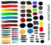 set of colorful brush splashes... | Shutterstock .eps vector #654074869