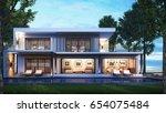 3d rendering modern house pool... | Shutterstock . vector #654075484