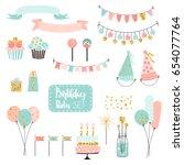 set of vector birthday party...   Shutterstock .eps vector #654077764