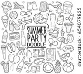 summer party  doodle icons... | Shutterstock .eps vector #654079825