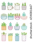 set of cute plant doodle....   Shutterstock .eps vector #654081667