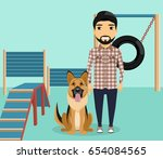 a young man with a dog at the... | Shutterstock .eps vector #654084565