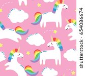 seamless pattern with cute... | Shutterstock .eps vector #654086674