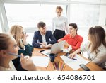 corporate business team and... | Shutterstock . vector #654086701