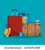 tourist suitcase  camera hat ... | Shutterstock .eps vector #654091489