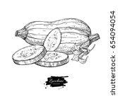 zucchini hand drawn... | Shutterstock . vector #654094054