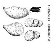 sweet potato hand drawn vector... | Shutterstock .eps vector #654096541