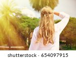 young woman meditating in the... | Shutterstock . vector #654097915
