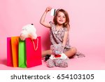 little cute girl in a dress... | Shutterstock . vector #654103105