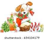 cute cartoon puppy illustration.... | Shutterstock . vector #654104179