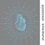 blue engraving human heart... | Shutterstock .eps vector #654104359