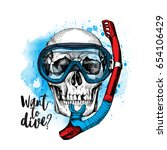 skull in a mask of a diver with ... | Shutterstock .eps vector #654106429