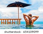 young happy woman have fun in... | Shutterstock . vector #654109099