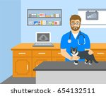 Stock vector veterinarian doctor holds cat on examination table in vet clinic vector cartoon illustration pets 654132511