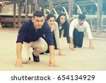 business team are ready to run... | Shutterstock . vector #654134929