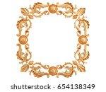 gold frame on a white... | Shutterstock . vector #654138349