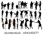 big vector set of  black... | Shutterstock .eps vector #654140377