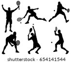set of tennis player silhouette | Shutterstock .eps vector #654141544